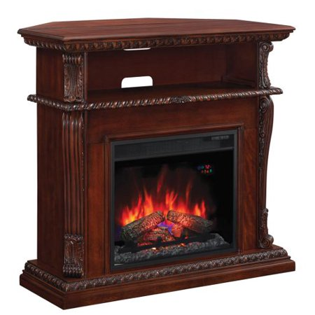 Corinth Wall or Corner TV Stand w/ 23″ Elec. Fireplace, Vintage Cherry