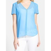Chelsea28 NEW Blue Women's Size Small S Sheer V-Neck Solid Seamed Blouse