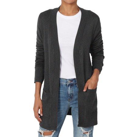TheMogan Women s S~3X Dual Pocket Longline Open Front Knit Sweater Cardigan  - Walmart.com 8d589eaa8