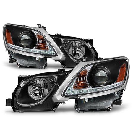 Fits 2006-2011 Lexus GS300 GS350 Xenon HID Type LED Strip w/DRL Black Headlights 05 Lexus Gs300 Led