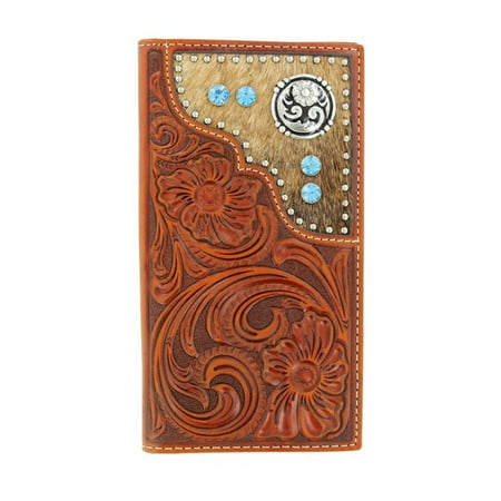 Copper Mens Accessories (Nocona Mens Wallet Leather Rodeo Western Tooled Hair On Copper N5426208)
