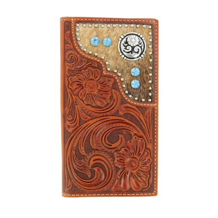 Rodeo Wallet - Nocona Mens Wallet Leather Rodeo Western Tooled Hair On Copper N5426208