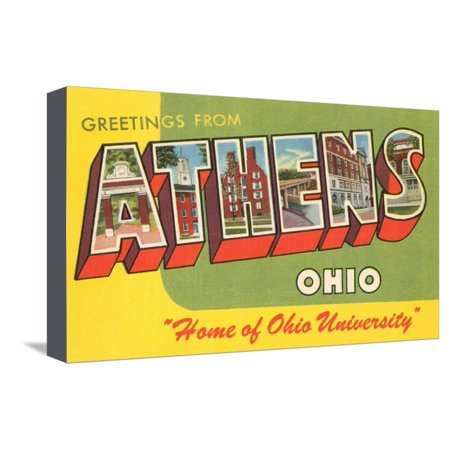 Greetings from Athens, Ohio Stretched Canvas Print Wall Art
