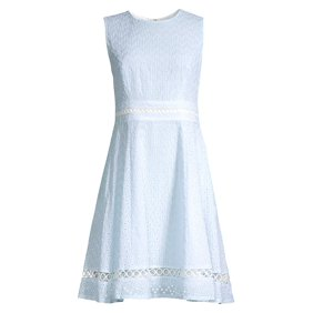 d15b299511d6 Calvin Klein. Sleeveless Seersucker Eyelet Dress