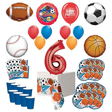 Mayflower Products Sports Theme 6th Birthday Party Supplies 8 Guest Entertainment kit and Balloon Bouquet Decorations - Red Number 6 - Soccer Theme Party Decorations
