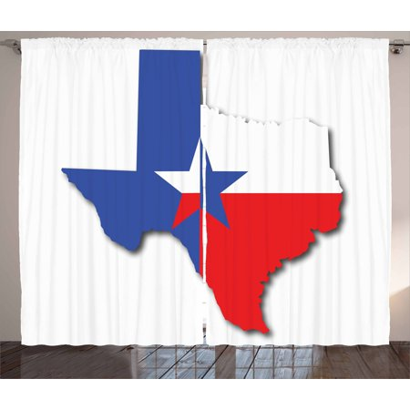 Texas Star Curtains 2 Panels Set, Outline of the Texas Map American Southwest Austin Houston City, Window Drapes for Living Room Bedroom, 108W X 90L Inches, Vermilion White Violet Blue, by Ambesonne - Austin City Living Halloween Party