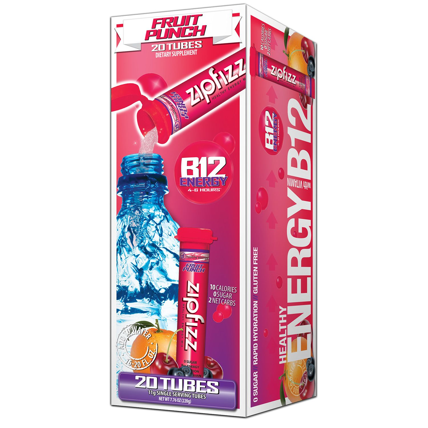 Zipfizz Fruit Punch Flavored Drink Packets (20 ct.)