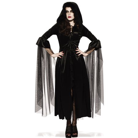 Mistress Of Midnight Adult Women Black Witch Vampire Gothic Hooded Robe - Witch Robe