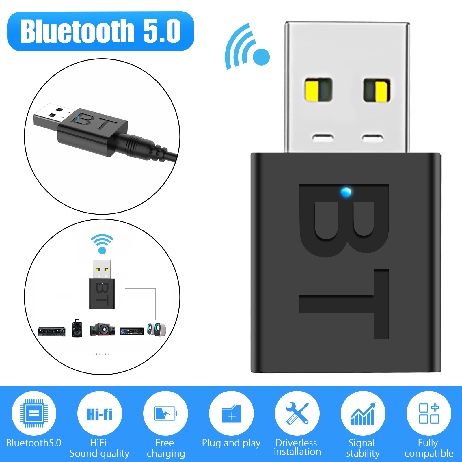 Bluetooth 5 0 Transmitter And Receiver 2 In 1 Wireless 3 5mm Adapter For Tv Home Sound System Car Nintendo Switch Walmart Com Walmart Com