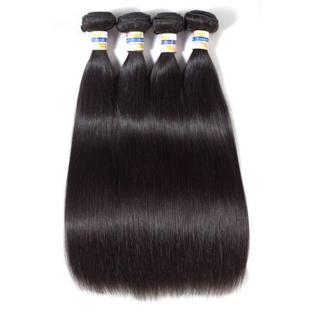 YYONG Hair Products Brazilian Virgin Hair Straight Unprocessed 4 Bundles Human Hair, (Best Products For Virgin Brazilian Hair)