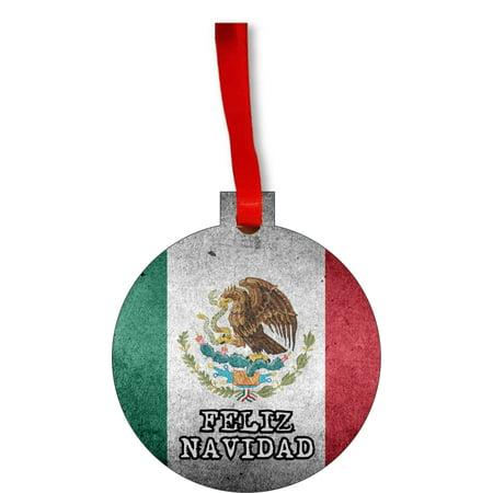 Flag Mexico - Mexican Grunge Flag Feliz Navidad Round Shaped Flat Hardboard Christmas Ornament Tree Decoration - Unique Modern Novelty Tree Décor Favors - Feliz Navidad Decorations