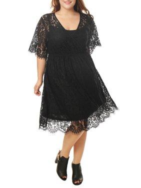 Women's Plus Size Self Tie Waist Floral Lace Wrap Front Dress