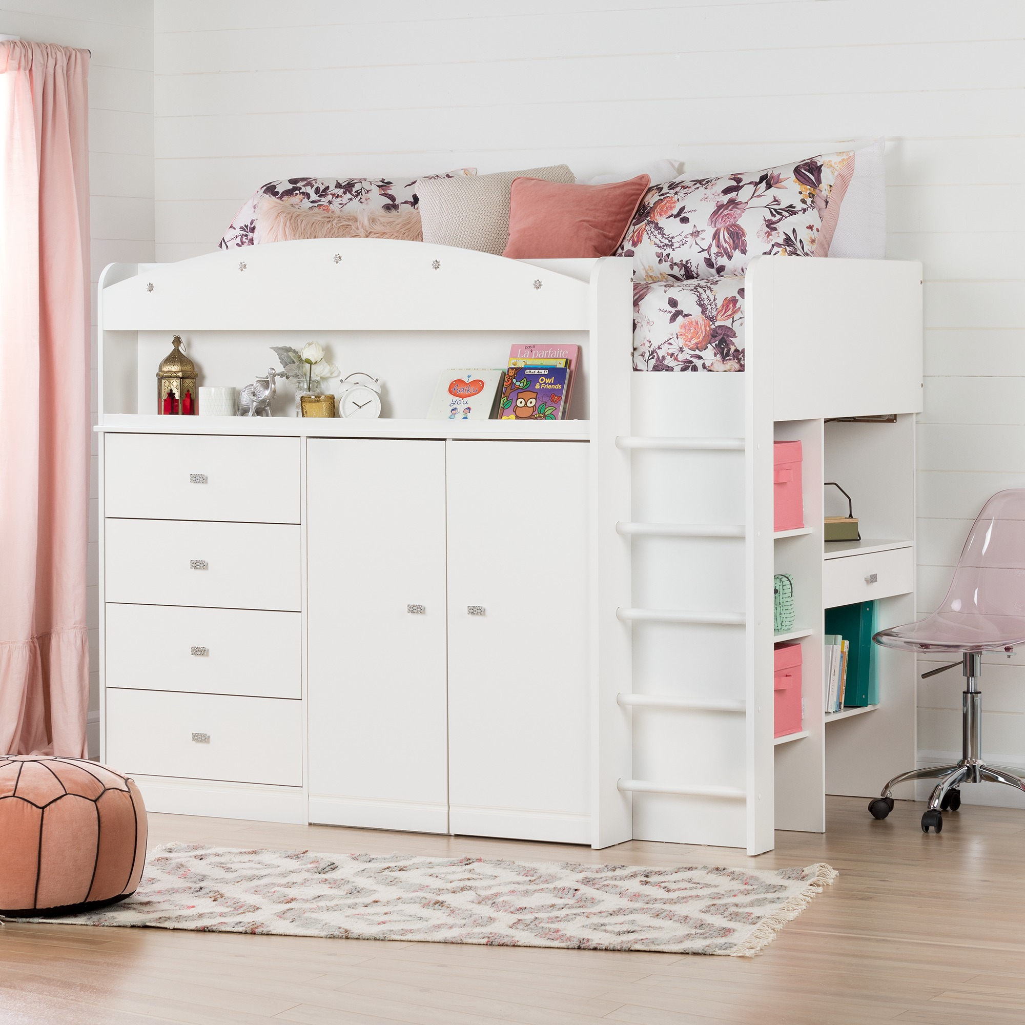 South Shore Tiara White Twin Loft Bed with Desk (39'')