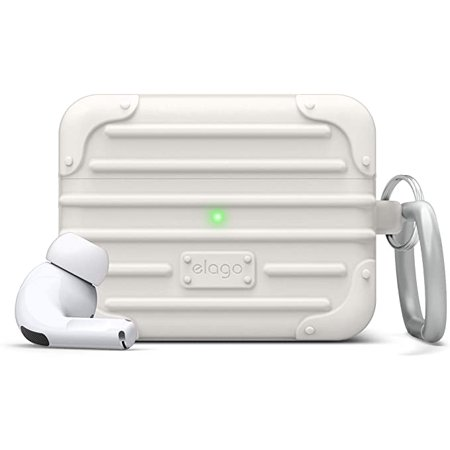 AirPods Pro Case - elago Suit Case Designed for AirPods Pro [ White ] / Cool, Cute, Unique AirPods Pro Case EVERYONE LOVES TO travel and no airplane flight would be the same without your AirPods Pro. Another awesome design by elago gets your AirPods Pro travel ready with the new SUIT CASE. HEAVY DUTY PROTECTION THAT comes with a CARABINER makes this case the PERFECT COVER for your AirPods Pro!