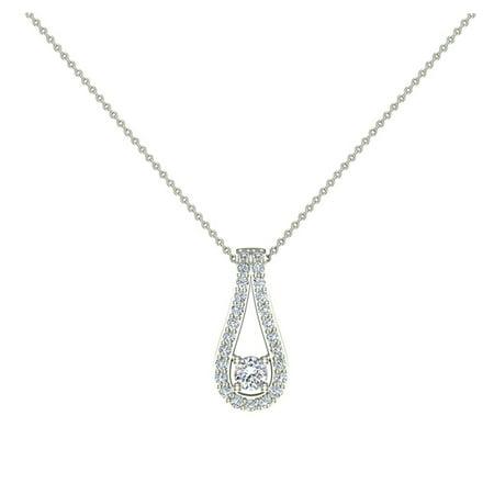 0.46 ct Teardrop Halo Diamond Pendant Necklace 14K White Gold with 18