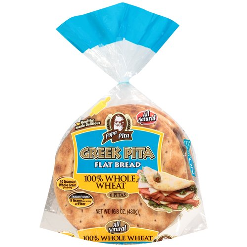Papa Pita 100% Whole Wheat Greek Pita Flat Bread, 6 ct