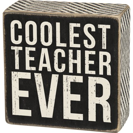 Coolest Teacher Wall / Desk Decor Box Sign - - Teacher Desk Decor