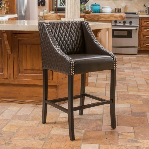 Lawson Brown Quilted Leather Bar Stool