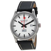 Mondaine Retro Day Date White Dial Black Leather Mens Watch A6673030816SBB