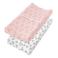 Little Star Organic 100% Pure Organic Cotton Changing Pad Cover, 2 Pk, Pink-Modern Blush