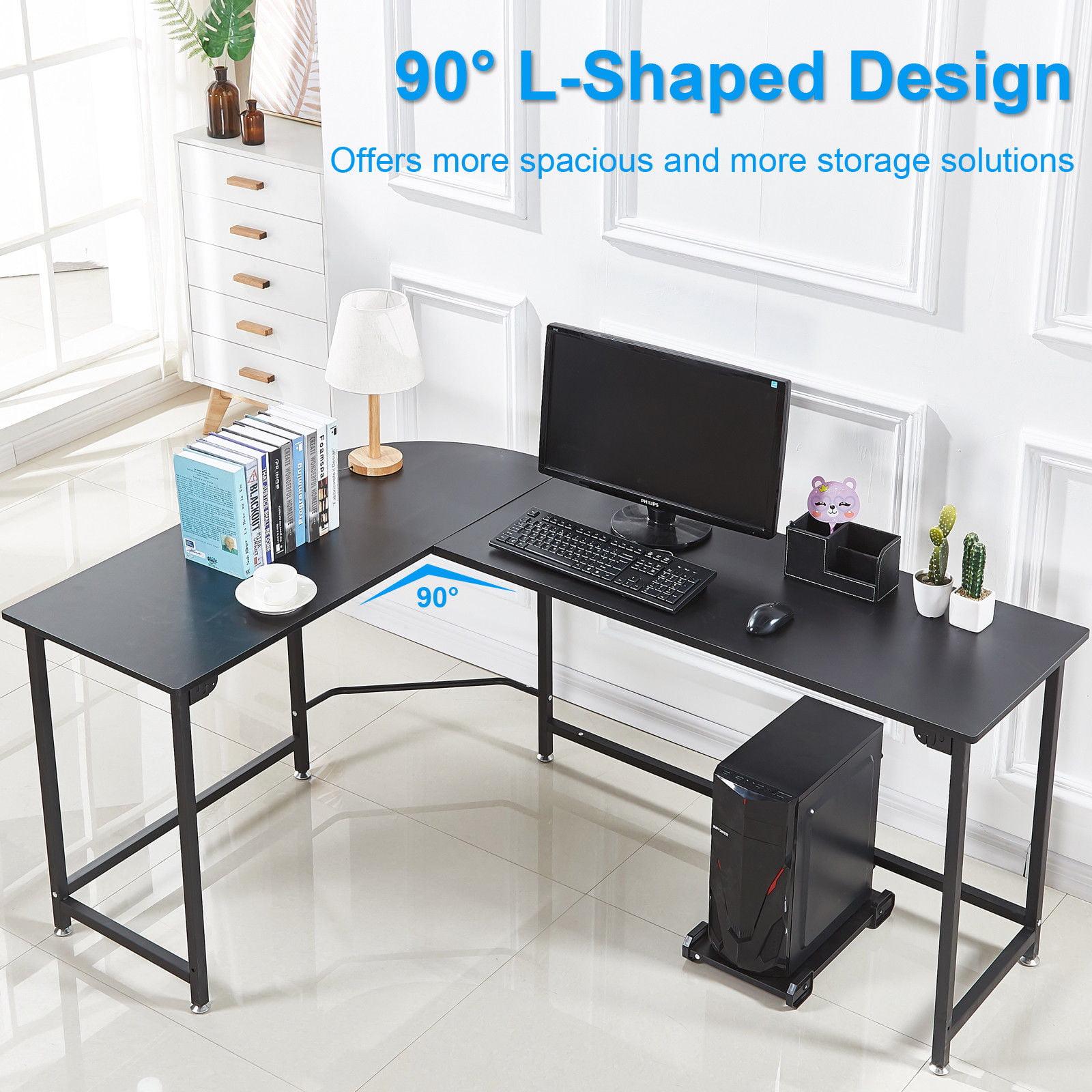 L Shape Corner Computer Desk Pc Wood Steel Laptop Table Workstation