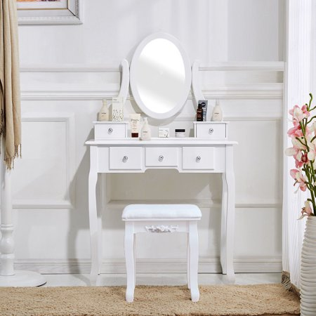 """Girls Vanity Desk with Mirror, Vanity Table and Stool, Upgrade Dressing Table Makeup Table Writing Desk with Five Drawers, Makeup Vanity Set and Cushioned Stool for Women, 31.5""""Lx15.75""""Wx55""""H, Q8711"""