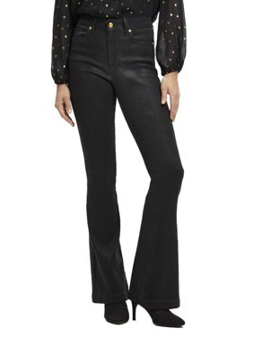 Scoop High Rise Coated Flare Jeans with Gold-Tone Trim Women's