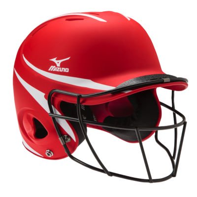 Mizuno Mvp Two Tone Batting Helmet With Facemask L Xl Red White