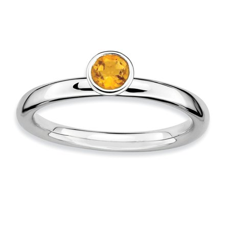 Sterling Silver High 4mm Round Simulated Citrine Ring - Size 10 - Ring Eraser