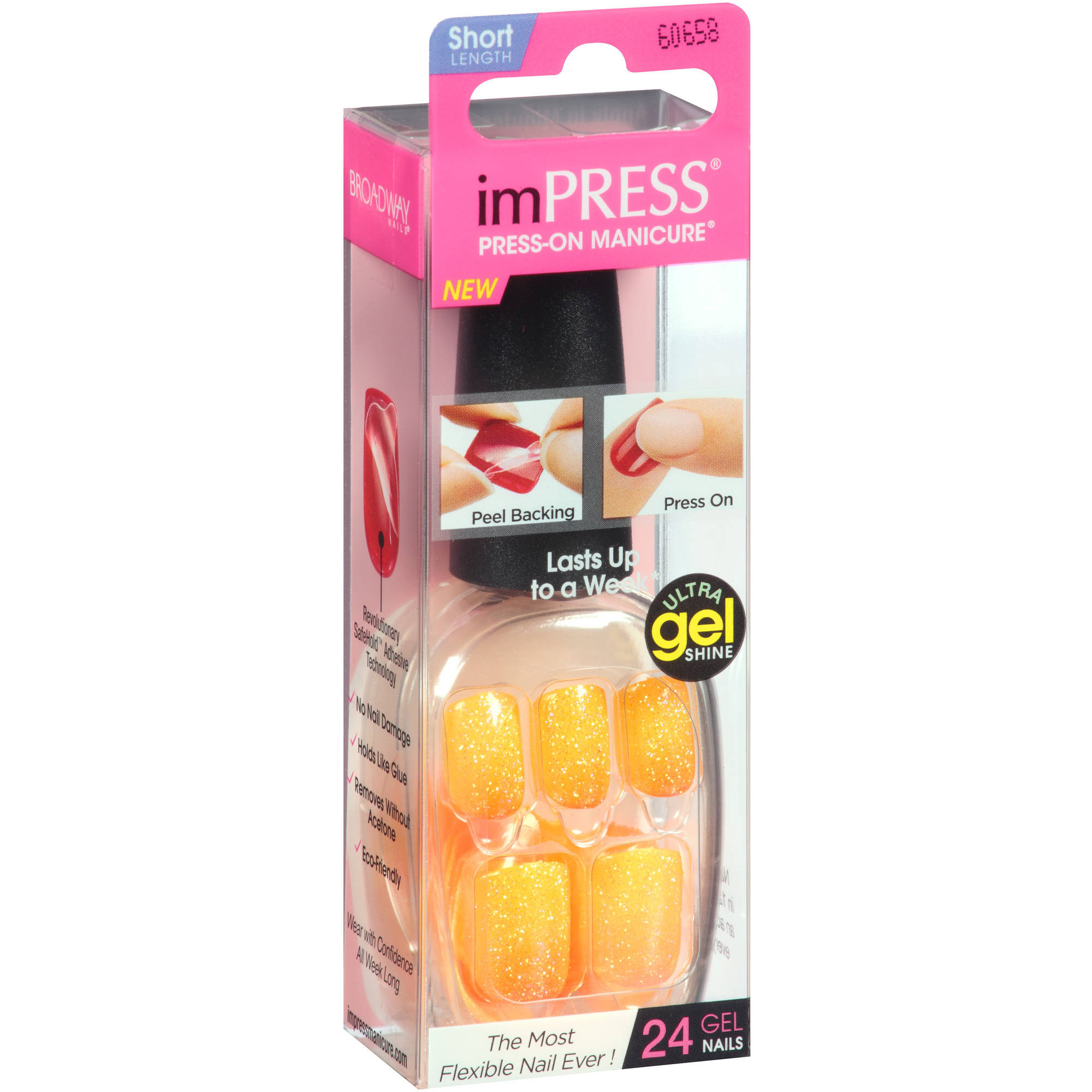 Broadway Nails Short Length imPress Press-On Manicure, 60658 In the Spotlight, 24 count
