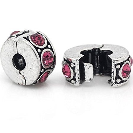 Clip Lock Stopper Bead with Pink Stones with 2 Clear Silicone Stopper For Snake Chain Charm - Cheapest Silicone Bracelets