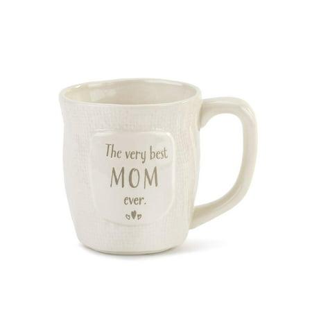 Demdaco The Very Best Mom Ever, Heart Textured White 12oz Ceramic Stoneware