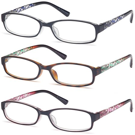 GAMMA RAY Readers 3 Pack of Thin and Elegant Womens Reading Glasses with Beautiful Patterns for Ladies - 1.00x (Crystal Readers Reading Glasses)