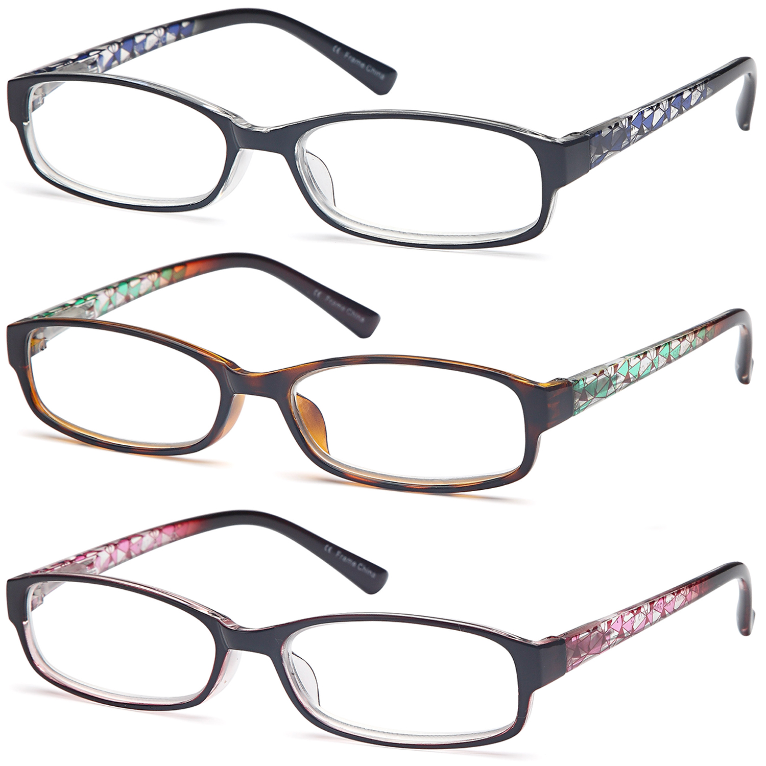 GAMMA RAY Readers 3 Pack of Thin and Elegant Womens Reading Glasses with Beautiful Patterns for Ladies - 1.00x