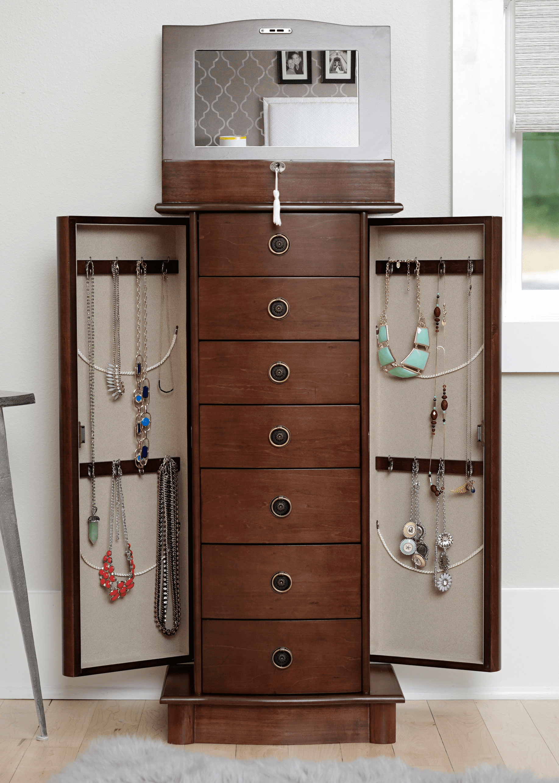 Hives honey nora standing jewelry armoire white