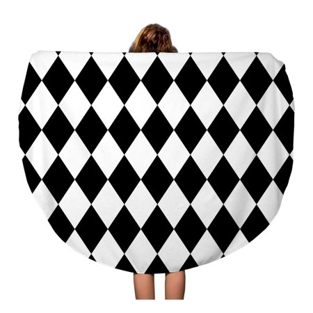 LADDKA 60 inch Round Beach Towel Blanket Harlequin Black and Pattern Halloween Abstract Baby Bathroom Checkerboard Travel Circle Circular Towels Mat Tapestry Beach Throw - Halloween Circle Time For Toddlers