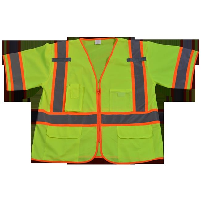 LV3-CB1-4X-5X Safety Vest Ansi Class 3 Lime Solid Deluxe with Orange Contrast Binding, 4X & 5X