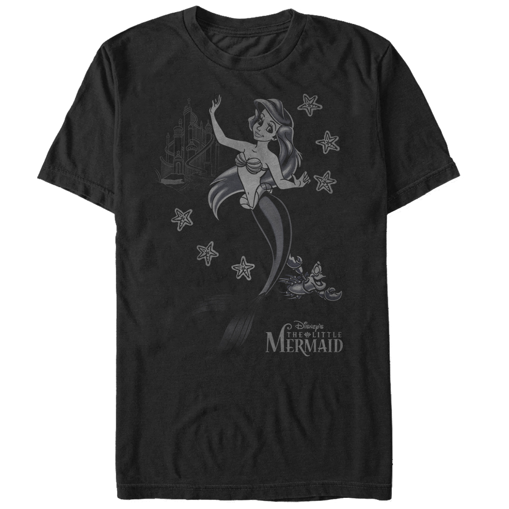 The Little Mermaid Men's Ariel Grayscale T-Shirt