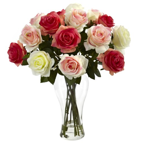 Nearly Natural Assorted Blooming Roses w/Vase