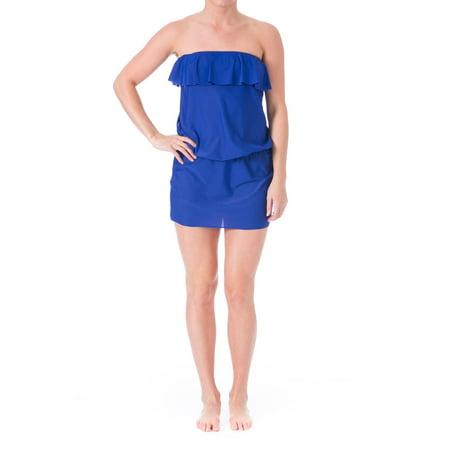 Eco Swim Womens Strapless Ruffled Dress Swim Cover-Up](Toddler Swim Cover Up)