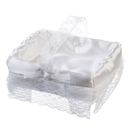 White Satin Flower Girl Basket with Lace and Bows: 6 x 7 inches (White Flower Girl Basket)