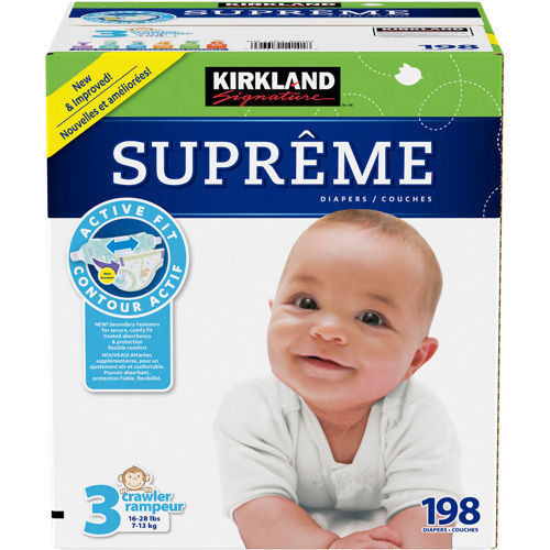 Kirkland Signature Supreme Diapers Size 3; 198-count