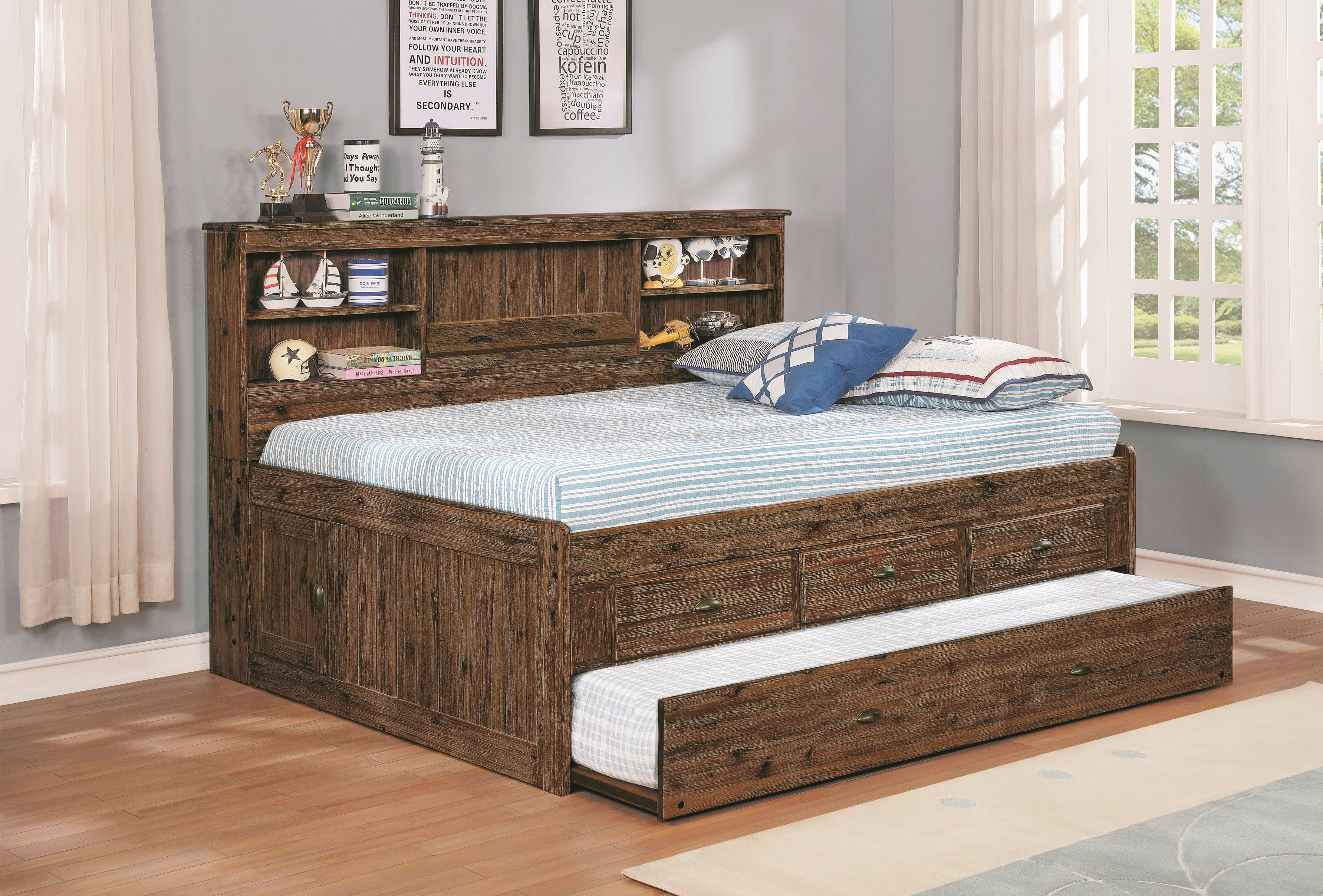 American Furniture Classics Model 4823 K3 Solid Acacia Hardwood Full Sized Daybed With Three Drawers Twin Sized Trundle Unit And Lengthwise Storage Headboard Walmart Com Walmart Com