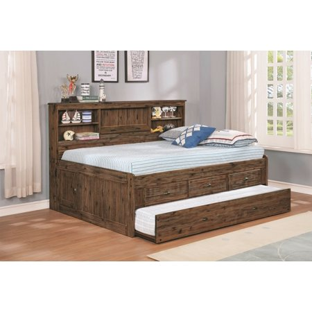 Trundle Unit - American Furniture Classics Model 4823-K3 Solid Acacia Hardwood Full Sized Daybed with Three Drawers, Twin Sized Trundle Unit and Lengthwise Storage Headboard