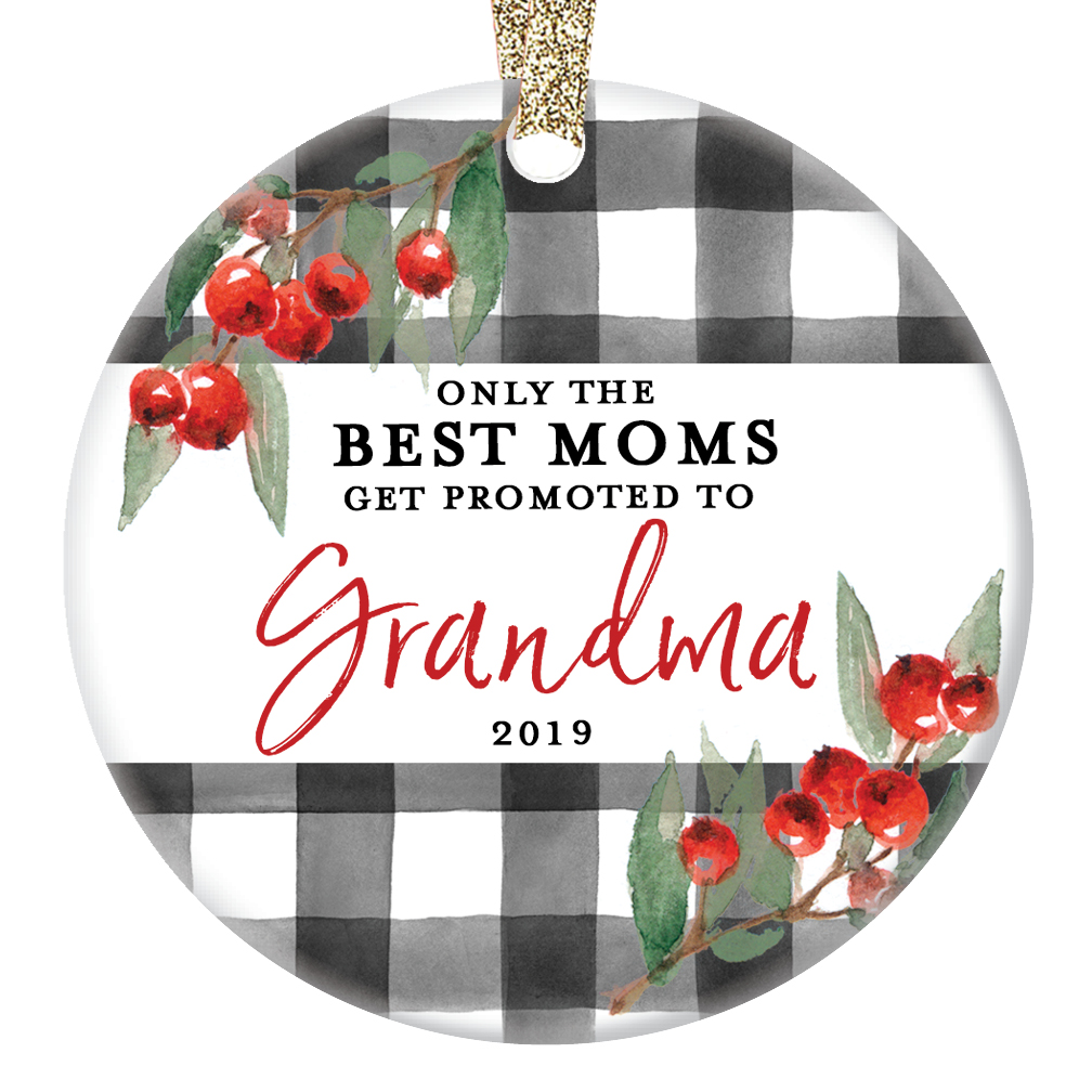 "Promoted to Grandma Ornament Christmas New Grandchild Baby Ceramic Grandmother Grandmom from Daughter Son 3"" Flat Holly Berries Collectible with Gold Ribbon & Free Gift Box 