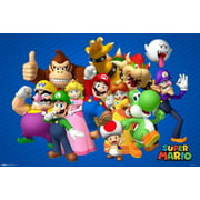 Super Mario Bros Nintendo Platform Video Game Group Characters Poster 36x24 inch