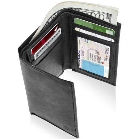 European Id Window (Genuine Leather Trifold Wallets For Men - Mens Trifold Wallet With ID Window RFID Blocking )