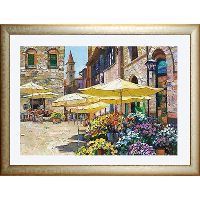 North American Art N2110 28 x 34 in. Siena Flower Market Framed Art Print