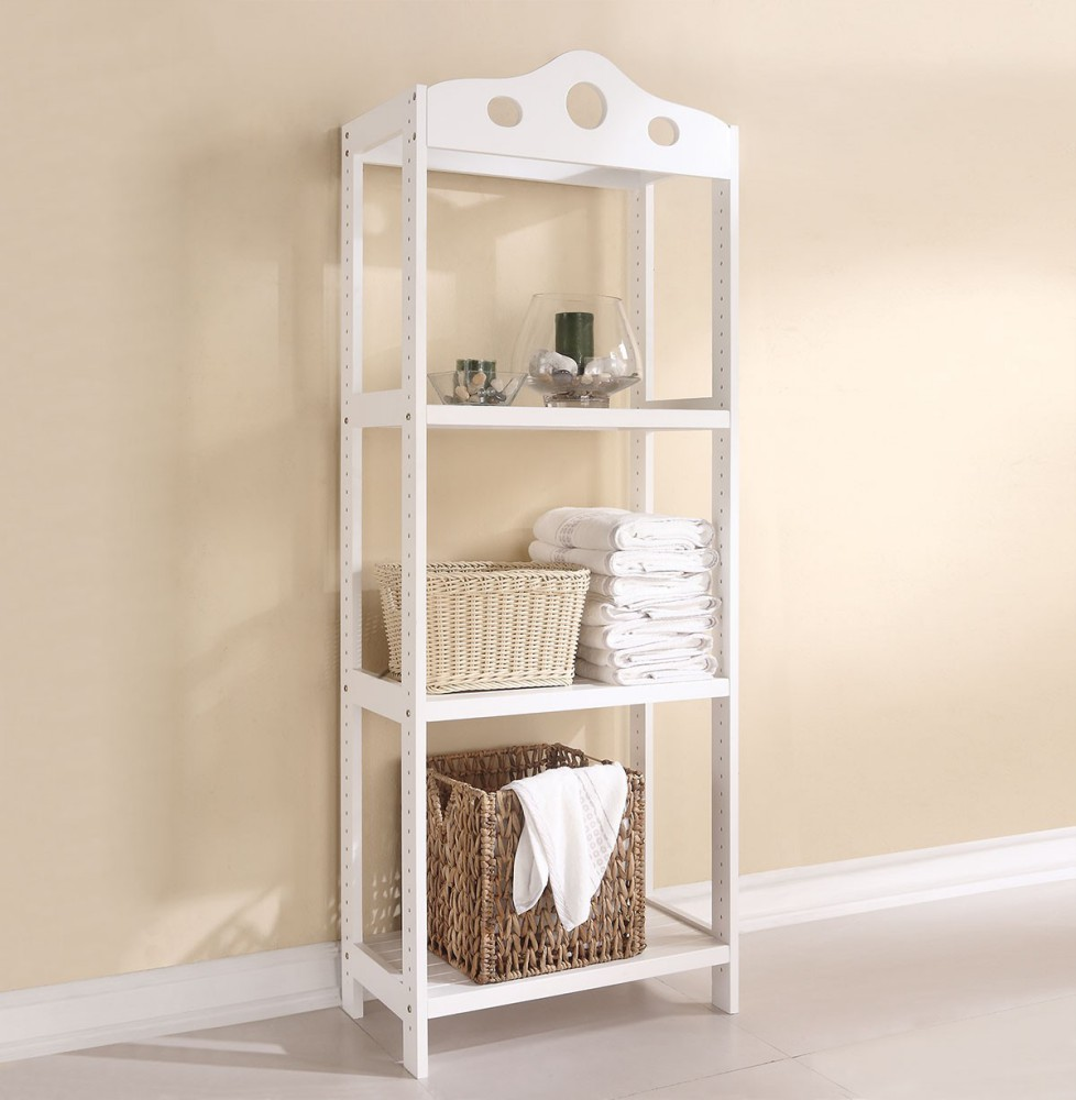 1PerfectChoice Sarila Collection Wooden Bathroom Storage 3 Tier Shelves  Towel Rack In White