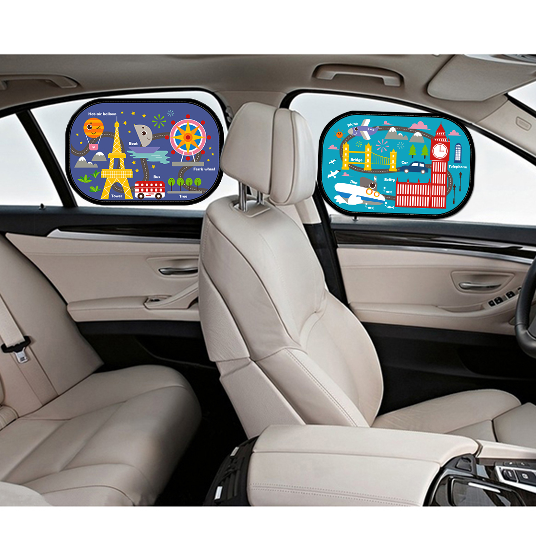 Cartoon  Car Side Window Sun Shade Visor Protector Static Film (2 Packs) Block Harmful UV Rays